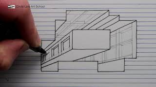 How to Draw a Hole Building Line Paper 3D Trick Art 720p