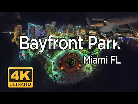 4K Mavic night flight  over Bayfront Park Miami FL
