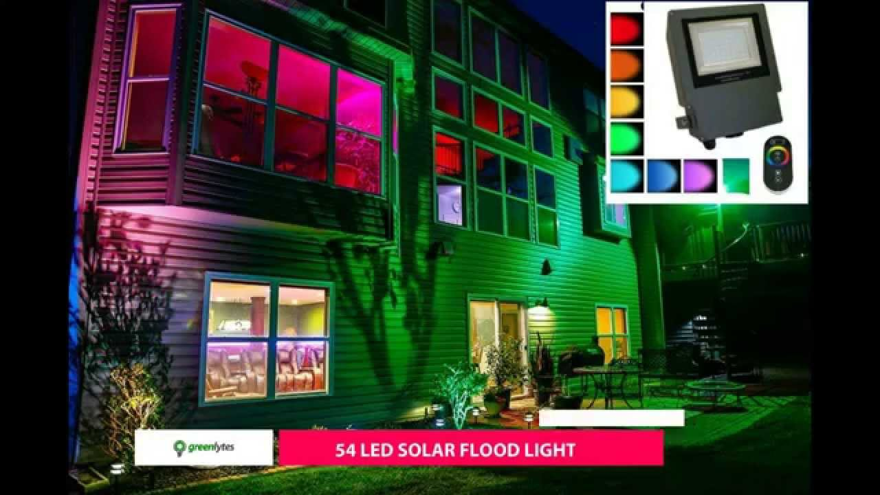 Color Changing Solar Flood Light Sgg Rgb 54 2r Youtube