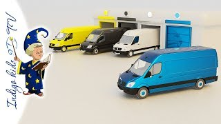 Colors for kids to Learn with Yellow, Black, White, Blue Van Vehicles * 3D TV