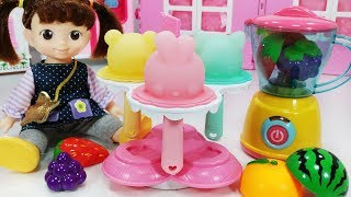 Baby doll and Ice Cream Maker cooking toys Refrigerator play - 토이몽