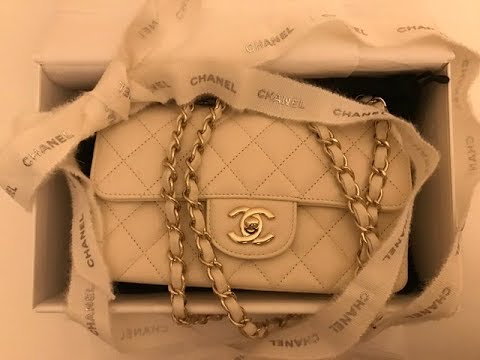 47fed9814d1612 Chanel Classic Rectangular Mini Flap Bag White 20cm unboxing - YouTube