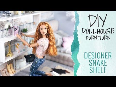DIY Dollhouse Furniture for Barbie (12 inch Dolls) - Designer Snake Shelf