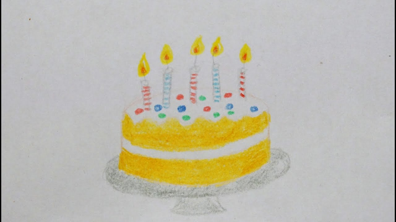 Geburtstagstorte Zeichnen Fur Kinder How To Draw Birthday