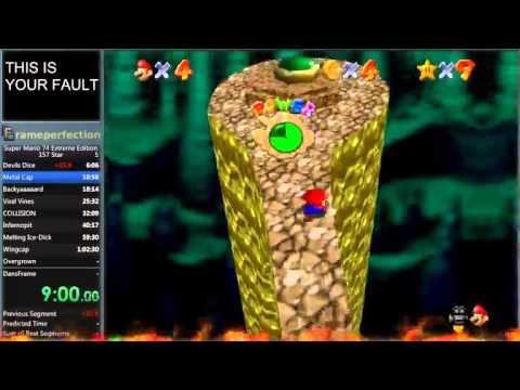 Super Mario 74 Extreme Edition 157 star speedrun in 5:28:30