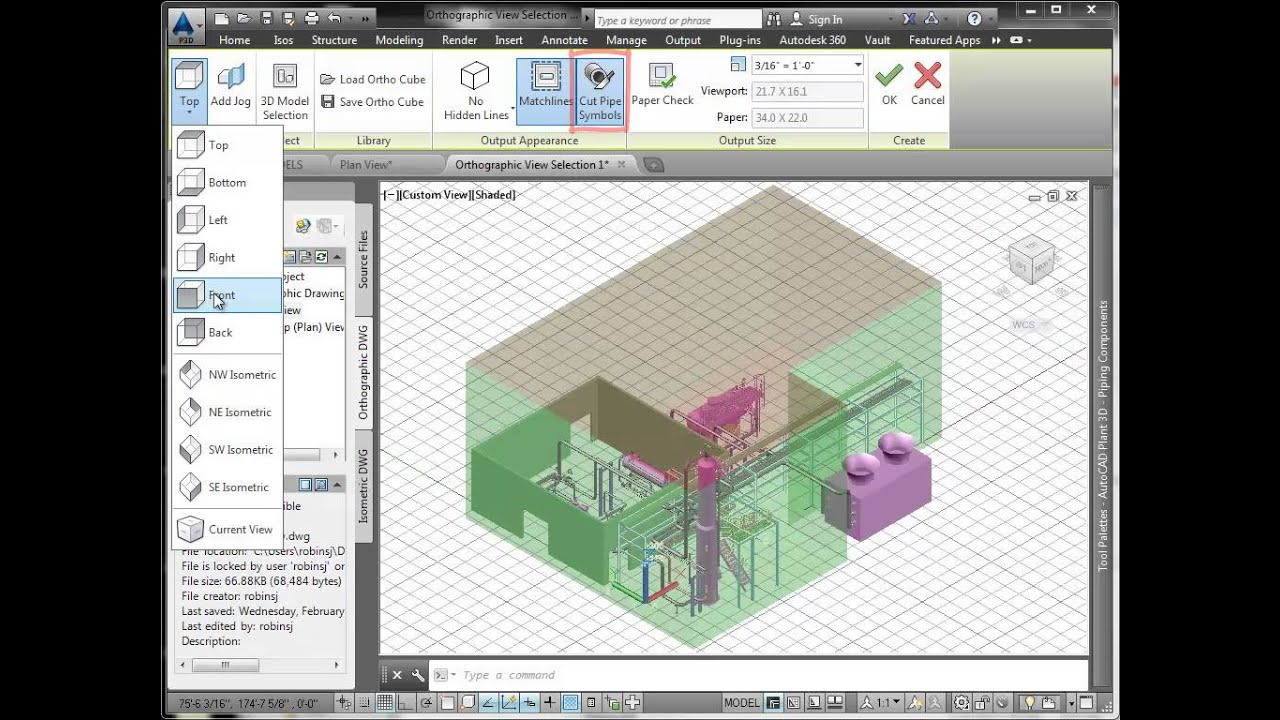 orthos in autocad plant 3d part 1 - Autoplant 3d