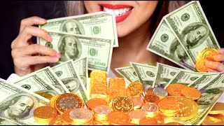 ASMR Eating Money & Crunchy Chocolate Gold Coins | Happy 2020 New Year *No Talking