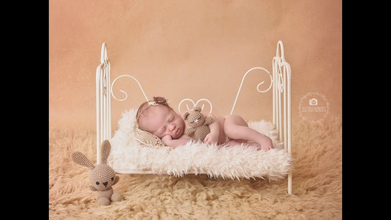 Newborn Photography Prop Ready to Ship Vintage Bed Blue Model 2