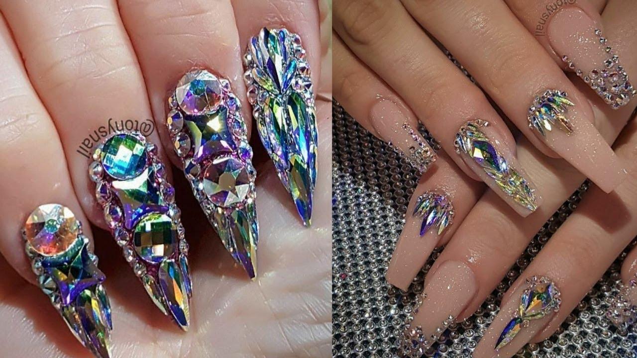 2018 nail designs, rhinestone nails, crystal nails