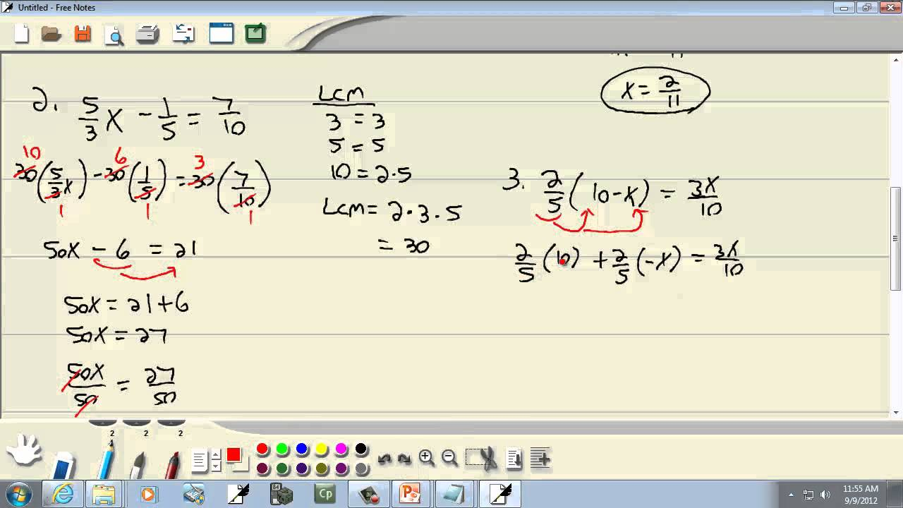 elementary algebra solving linear equations involving fractions elementary algebra solving linear equations involving fractions and decimals classifying equations