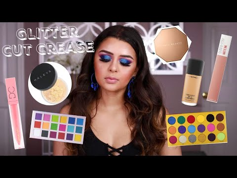 BLUE GLITTER CUT CREASE MAKEUP TUTORIAL | SHEILA SHIMMERS thumbnail