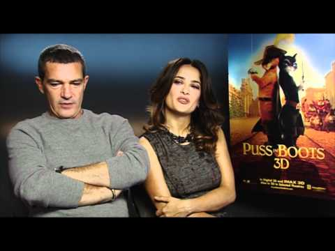 Salma Hayek & Antonio Banderas - Fun Puss In Boots Interview