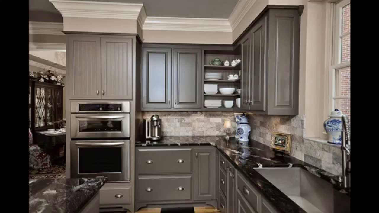 Grey kitchen cabinets youtube for Grey kitchen cabinets with red walls
