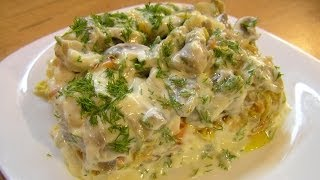 Салат с сельдью / Herring and mushroom salad ♡ English subtitles