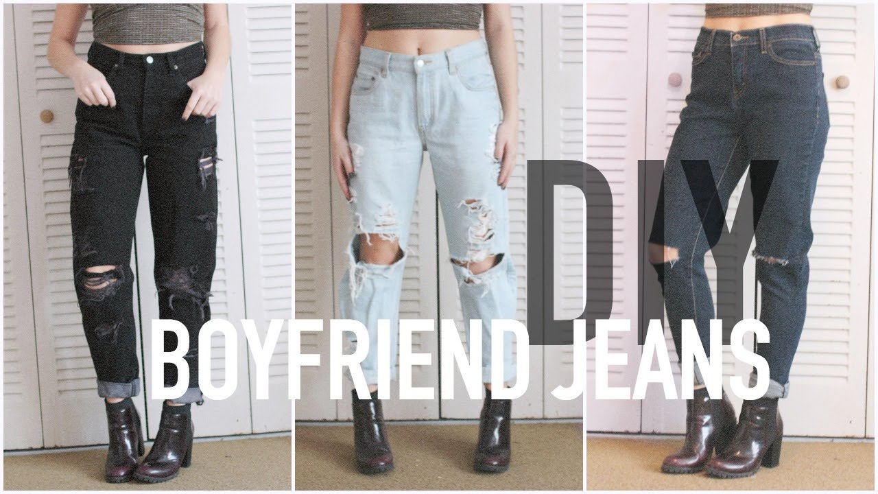 Diy Distressed Boyfriends Jeans 6 Or Less