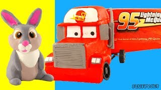 MACK TRUCK Lightning Mcqueen Cars Truck delivers Big Egg Surprise!