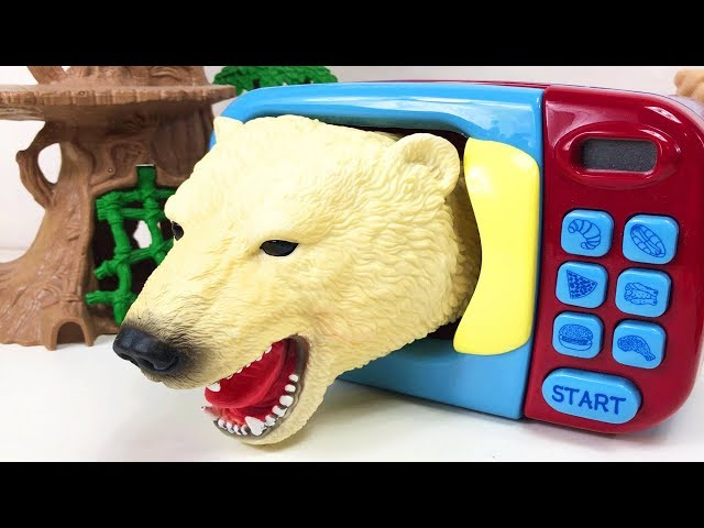 Learn Animals Names For Kids Surprise Animal Fun Video. Microwave Oven Toys-Transformer Shark Toys