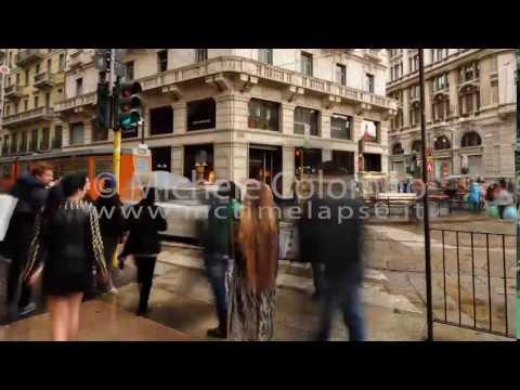 0027 - time lapse - People waiting at zebra crossing in Milan