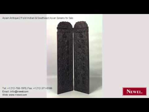 Asian Antique 2 Fold Indian & Southeast Asian Screens for