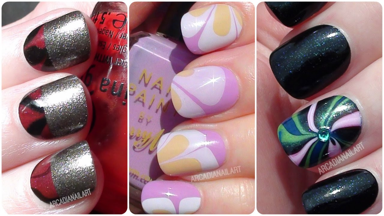 Water Marble Nail Art 3 Easy Designs Nail Art For Beginners