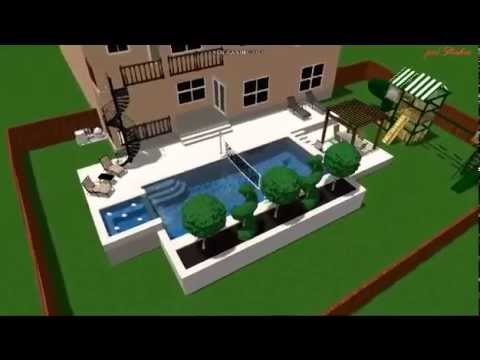 Rectangle Pool With Spa rectangular pool with spa, swim up bar, planter, pergola, and