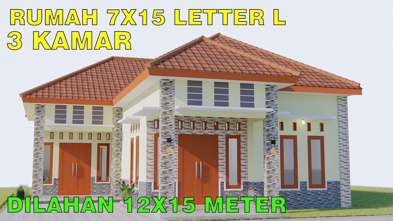 Desain Rumah Minimalis Modern 7x15 Di Lahan 12x15 3 Kamar Tidur