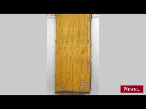 Antique Set of 6 gold damask drapes with applied silk decora