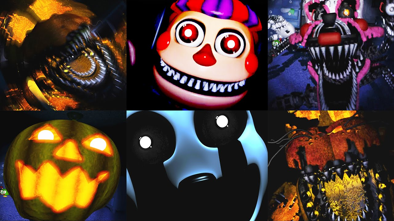 Five nights at freddy s 4 halloween edition all jumpscares funny