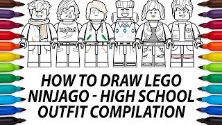 How to draw Lego Ninjago Movie minifigures - High School Outfit compilation