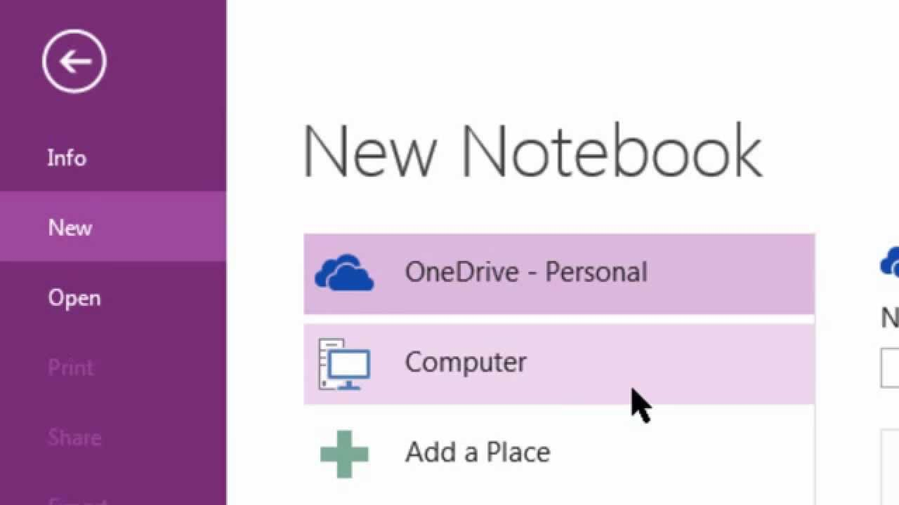 Creating a new Notebook in OneNote 2013