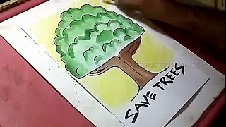 How to Draw Save Trees Color Drawing for Kids