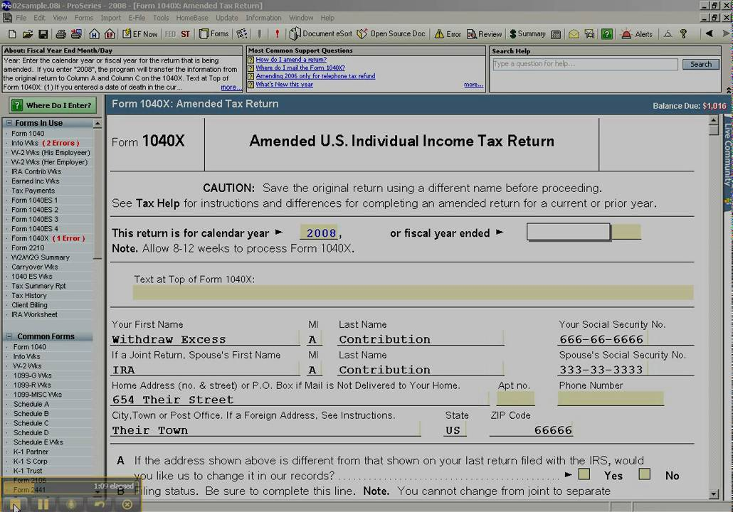 Amending An Individual Federal Or State Return Form 1040x Youtube