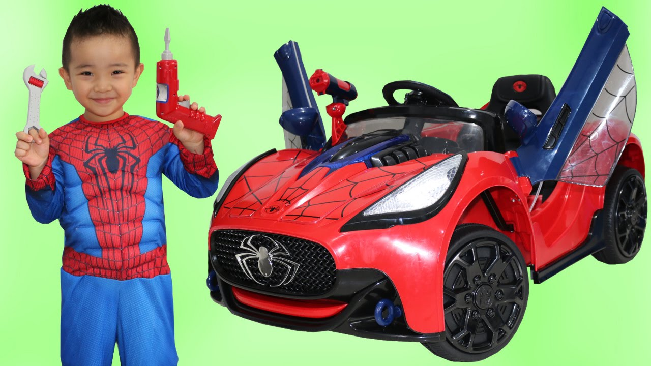 Unboxing New Spiderman Battery Powered Ride On Super Car Test