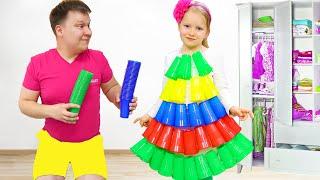 Милли и папа делают сами платья для вечеринки