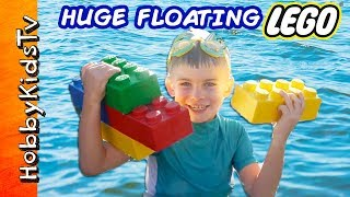 GIANT FLOATING POOL LEGOs with Surprise Toys! We Review and Build Lego Bricks with HobbyKids