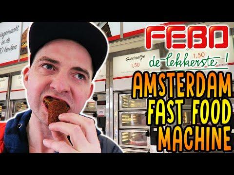 FEBO Amsterdam fast food machine review, dutch battered snack taste test Netherlands