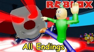 BIRTHDAY BALDI ESCAPES A GIANT CLOWN!! ALL ENDINGS!! | Roblox Camping: Birthday Party