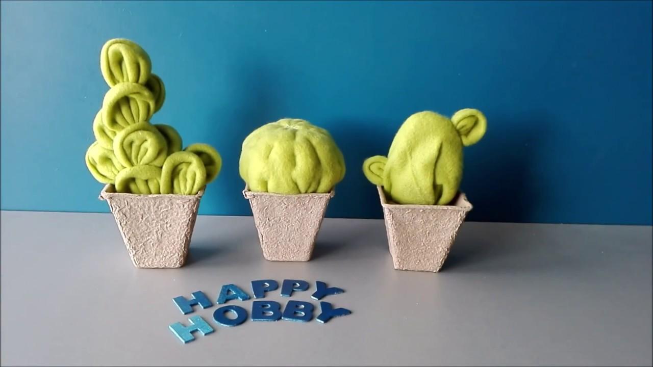 Kaktus aus Fleecedecke schneiden, mit der Hand nähen und kleben, DIY ...