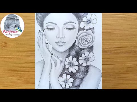 How to draw a girl - Step By Step || Pencil Sketch drawing for beginners || Face Drawing