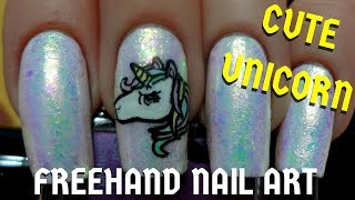 Easy Unicorn DIY Freehand Nail Art Tutorial