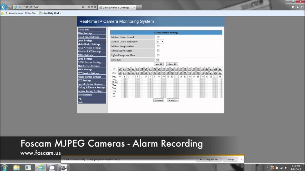 Foscam MJPEG Cameras - Motion Detection Recording