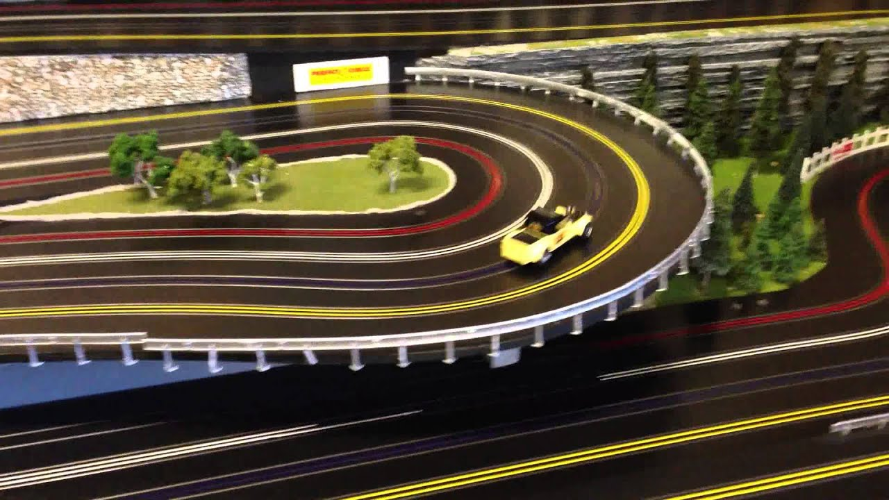 aurora super model motoring test drive routed wooden slot car track [ 1280 x 720 Pixel ]