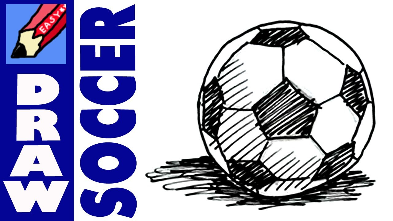 How to draw a Soccer Football Ball Real Easy - YouTube