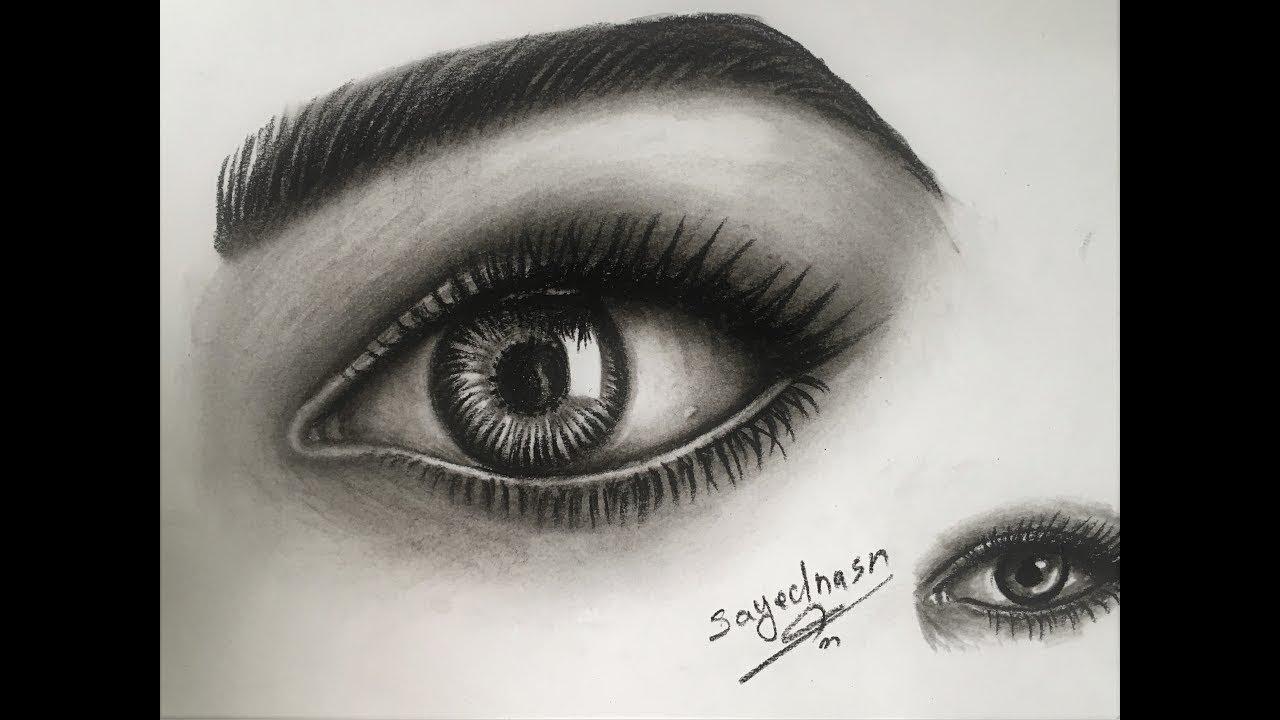 تعليم رسم العين بالرصاص للمبتدئين خطوة خطوة السيد نصر