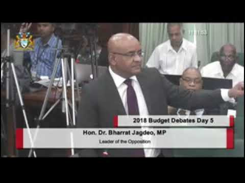2018 Budget debate presentation by Opposition Leader Dr Bharrat Jagdeo Dec 8th 2017