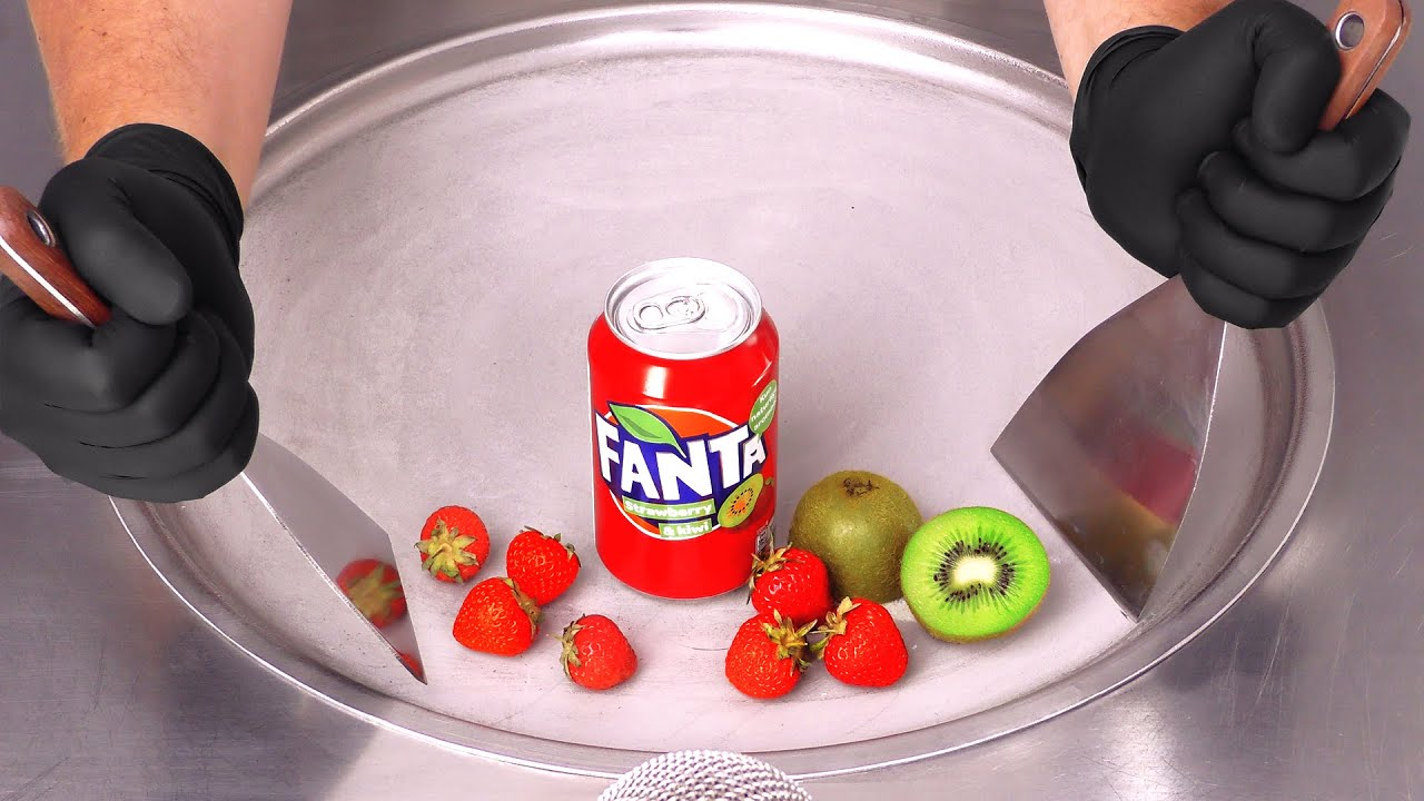 FANTA Strawberry & Kiwi - Ice Cream Rolls | ASMR