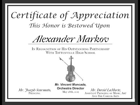 Spring Concert May 29th 2014 with World Famous Violinist Alexander Markov
