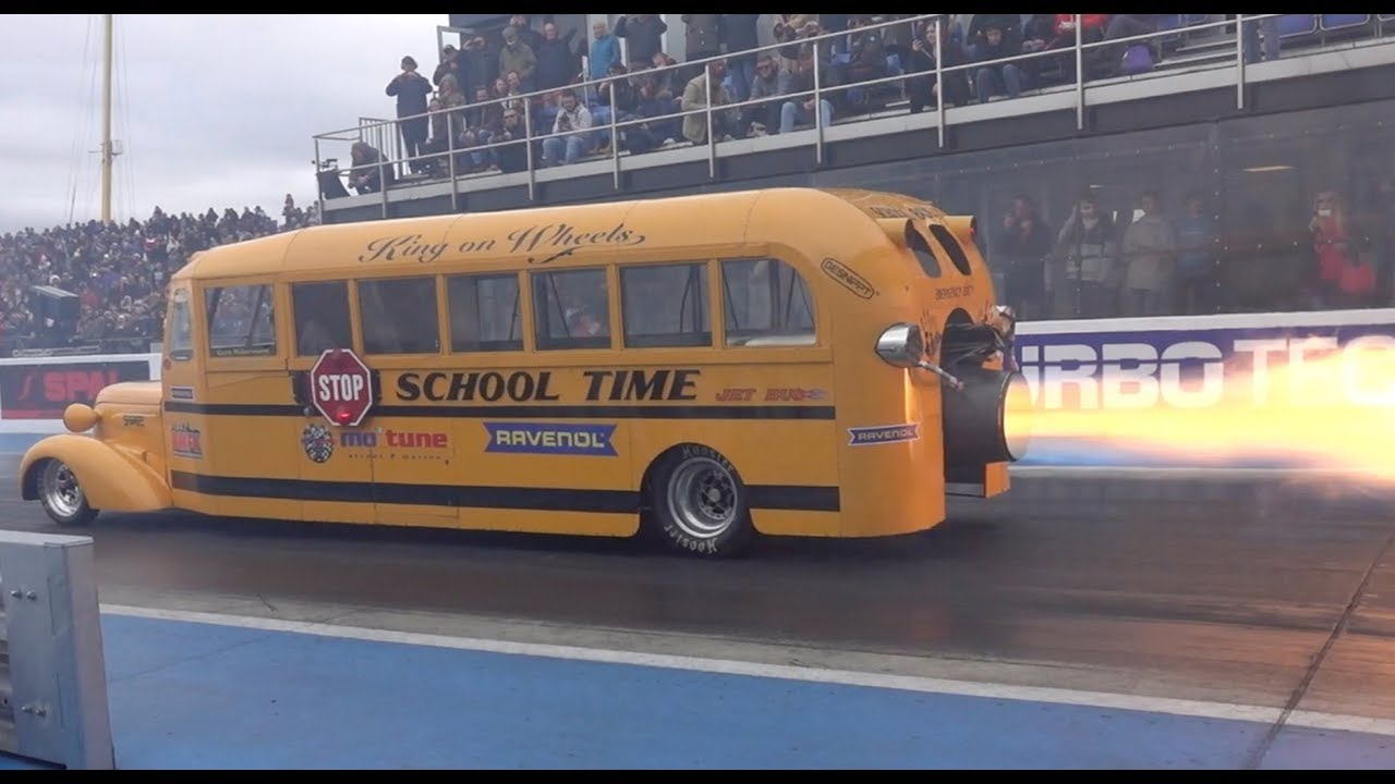 Jet School Bus Dragster Spits Fire From Its Turbine Engine
