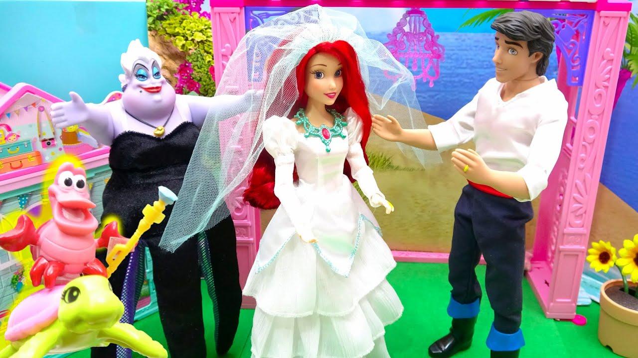 プリンセス バービー 人形 アリエル が着せ替えごっこ ウェディング ドレスに大変身やヘアーアレンジ✨ 手作り工作 DIY❤️ Barbie Dolls Wedding Dress Crafts