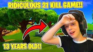 21 BOMB GAME !! -13 YEAR OLD GETS 21 KILLS WITH FORTNITE PROS - HIGH KILL GAME ! - 20 BOMB GAMEPLAY
